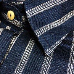 camisa social listrada azul principessa beatriz detalhe tecido leve