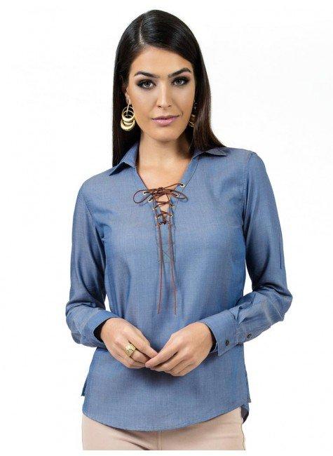 blusa ampla com amarracao principessa juce feminina look