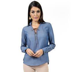 blusa ampla com amarracao principessa juce imita jeans look