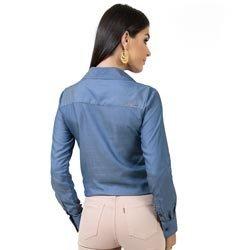blusa ampla com amarracao principessa juce imita jeans modelagem