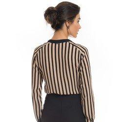 camisa listrada nude preto principessa olana detalhe modelagem