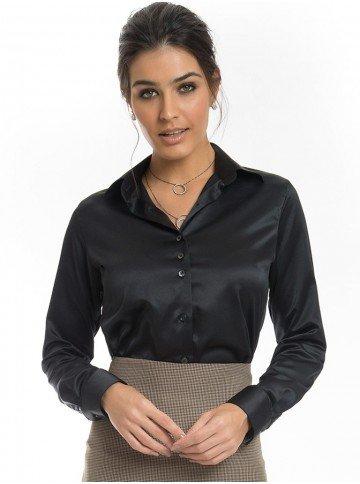 camisa de cetim preta principessa alba look