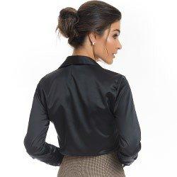 camisa de cetim preto principessa alba detalhe modelagem