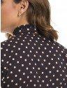 camisa preta de poa com babado principessa josfina placa