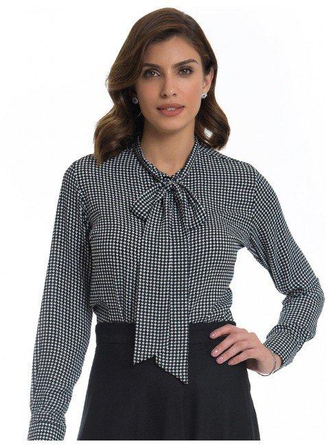 camisa pied poule preta principessa francisca look
