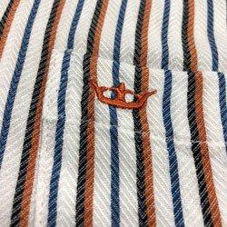 camisa feminina listrada principessa jaqueline ferrugem detalhe tecido