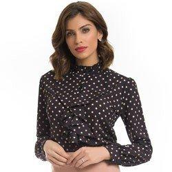 camisa preta poa com babado principessa josefina detalhe look