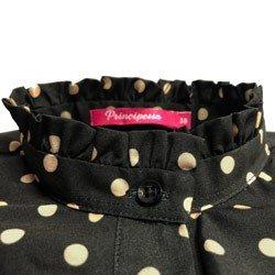 camisa preta poa com babado principessa josefina detalhe babado