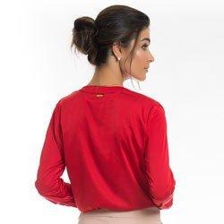 camisa de cetim vermelha principessa alessa detalhe modelagem