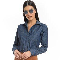 camisa feminina jeans escuro principessa analu detalhe modelo