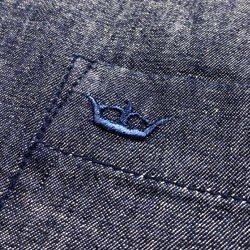 camisa feminina jeans escuro principessa analu detalhe tecido jeans