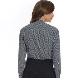 camisa estampada pied poule principessa francisca detalhe modelagem