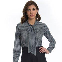 camisa estampada pied poule principessa francisca detalhe tendencia
