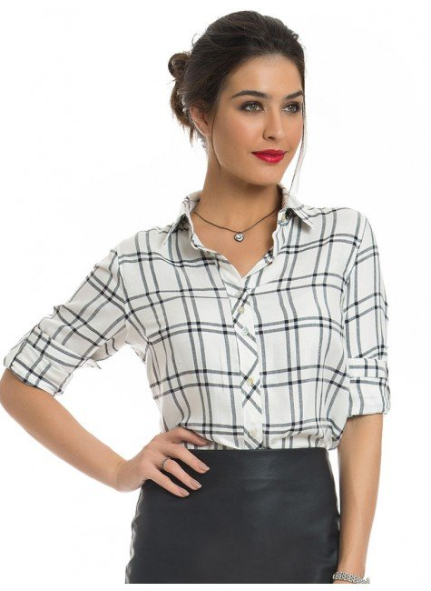 camisa xadrez feminina principessa liara look