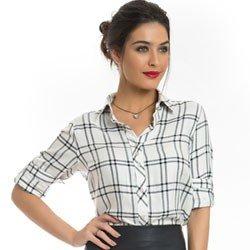 camisa xadrez feminina principessa liara detalhe look