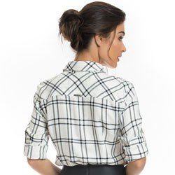 camisa xadrez feminina principessa liara detalhe modelagem