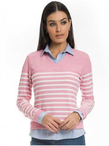 sueter camisa listrado rosa principessa marli look