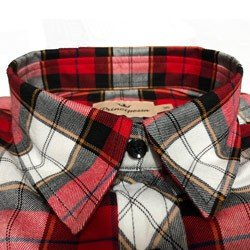 camisa xadrez vermelha feminina principessa thalita detalhe gola