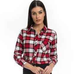 camisa xadrez vermelha feminina principessa thalita detalhe look
