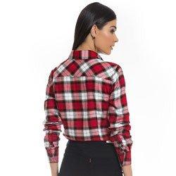 camisa xadrez vermelha feminina principessa thalita detalhe modelagem