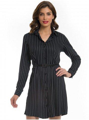 vestido chemise preto risca giz principessa alice look