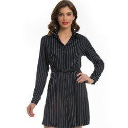 vestido chemise preto risca de giz principessa alice detalhe look modelagem
