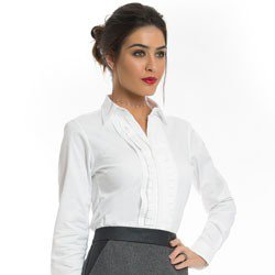 camisa feminina branca com drapeado principessa benita detalhe look