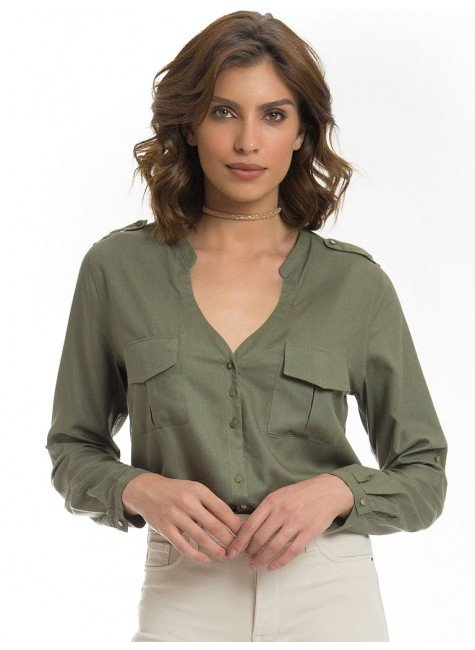 camisa verde militar feminina principessa janine look