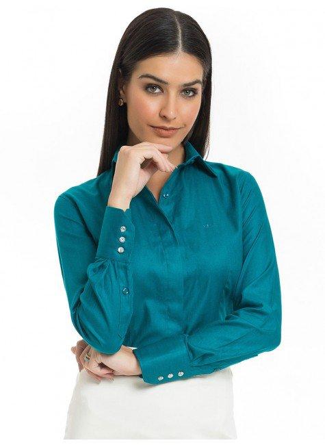 camisa feminina premium turqesa principessa joziana look