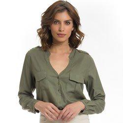 camisa verde militar feminina principessa janine detalhe look