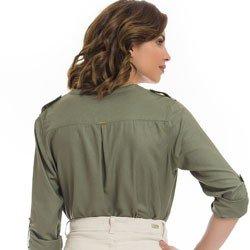 camisa verde militar feminina principessa janine detalhe modelagem