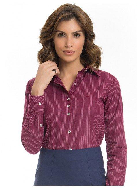 camisa feminina listrada bordo premium principessa kenia look