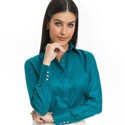 camisa feminina premium turquesa principessa joziana detalhe look