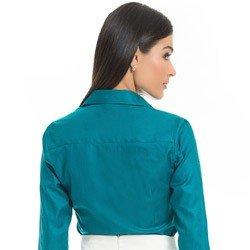 camisa feminina premium turquesa principessa joziana detalhe modelagem