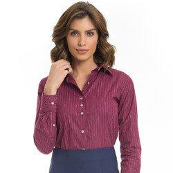 camisa feminina listrada bordo premium principessa kenia detalhe modelagem