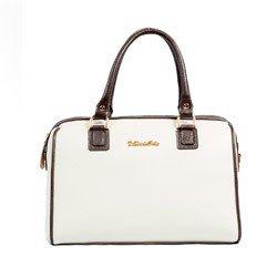 bolsa feminina branca couro legtimo alca regulavel dalber