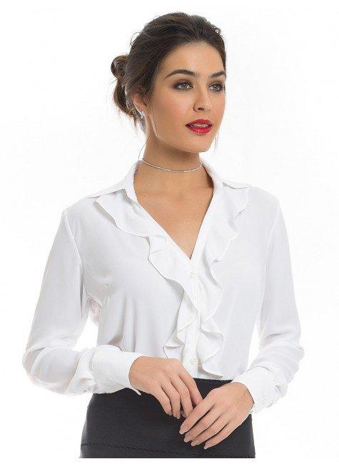 camisa feminina branca babado principessa helena look