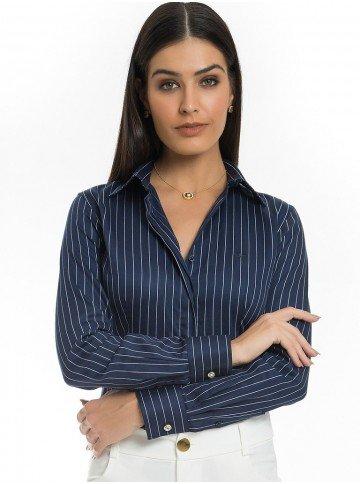 camisa listrado marinho premium principessa iohandra look