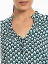 camisa estampa pavao turquesa principessa jamile decote v