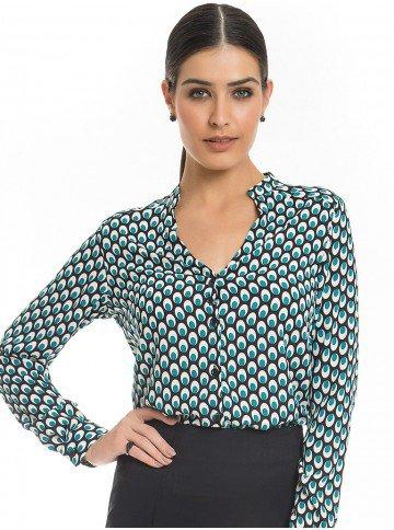 Camisa Estampada Turquesa Principessa Jamile