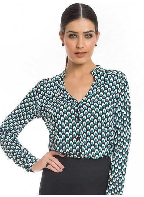 camisa estampa pavao turquesa principessa jamile look