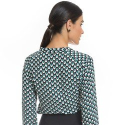 camisa estampa pavao turquesa principessa jamile detalhe modelagem