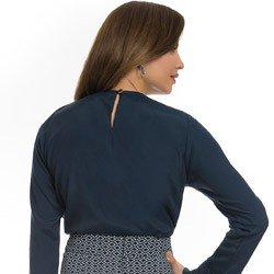 blusa feminina marinho manga flare principessa ester detalhe modelagem soltinha