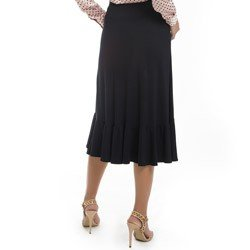 saia transpassada com babado preta principessa nairana detalhe tecido modelagem