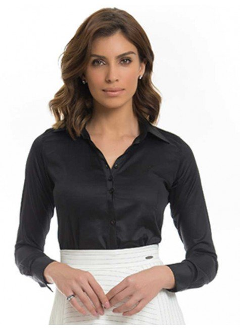 camisa social feminina preta mardjane principessa frente