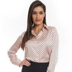 camisa social em cetim rose com poa preto principessa danubia detalhe look