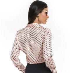 camisa social em cetim rose com poa preto principessa danubia detalhe modelagem