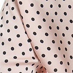 camisa social em cetim rose com poa preto principessa danubia detalhe tecido