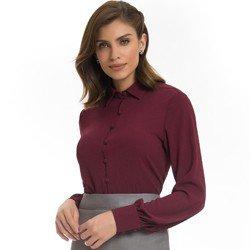 camisa social feminina bordo principessa isabella detalhe look