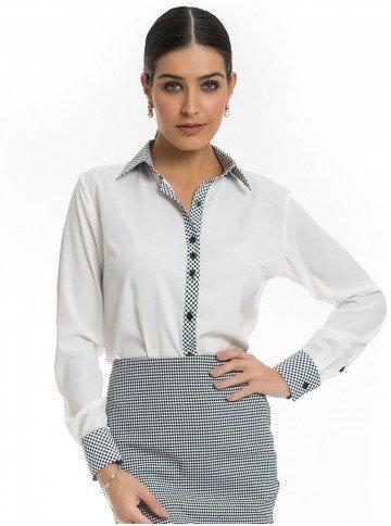camisa social principessa catarina pied de poule
